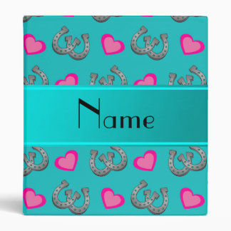 Personalized name turquoise horseshoes hearts binder