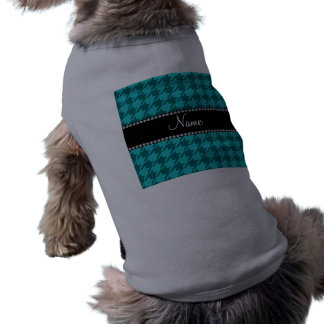 Personalized name turquoise houndstooth doggie tshirt