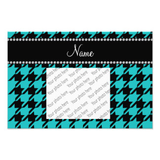 Personalized name turquoise houndstooth pattern art photo