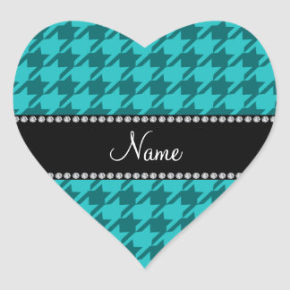 Personalized name turquoise houndstooth sticker