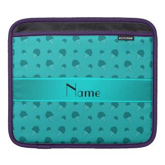 Personalized name turquoise ice cream pattern iPad sleeve