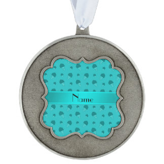 Personalized name turquoise ice cream pattern scalloped ornament