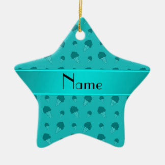 Personalized name turquoise ice cream pattern ornaments