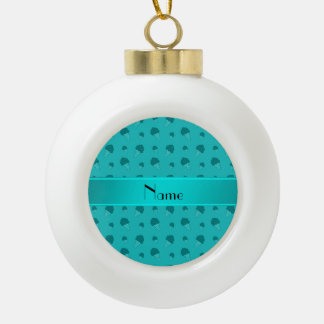 Personalized name turquoise ice cream pattern ornament