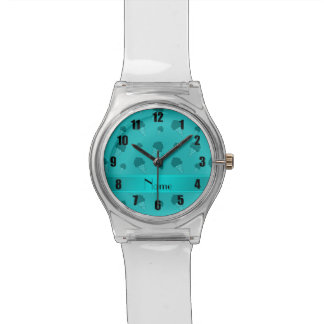 Personalized name turquoise ice cream pattern wristwatches