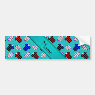 Personalized name turquoise jerseys rugby balls car bumper sticker