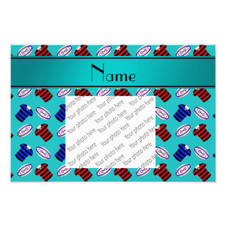 Personalized name turquoise jerseys rugby balls photograph
