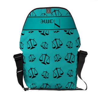 Personalized name turquoise justice scales messenger bags
