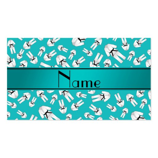 Personalized name turquoise karate pattern business card template