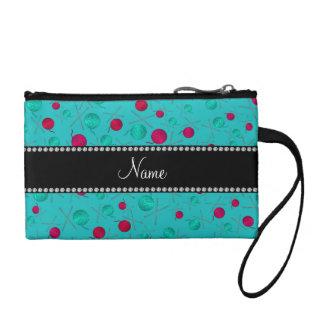 Personalized name turquoise knitting pattern change purse