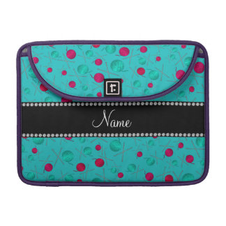 Personalized name turquoise knitting pattern sleeves for MacBooks
