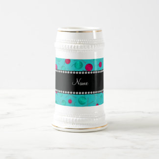 Personalized name turquoise knitting pattern 18 oz beer stein