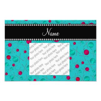 Personalized name turquoise knitting pattern photo print