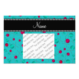 Personalized name turquoise knitting pattern photograph