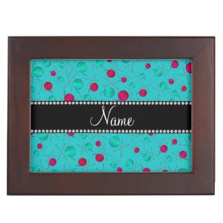 Personalized name turquoise knitting pattern keepsake box