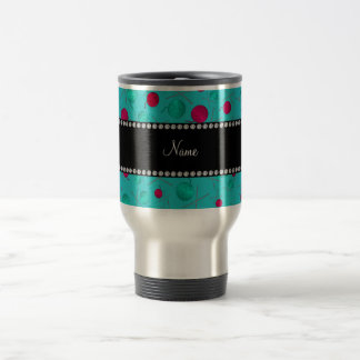 Personalized name turquoise knitting pattern travel mug