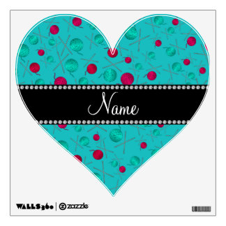 Personalized name turquoise knitting pattern wall graphics