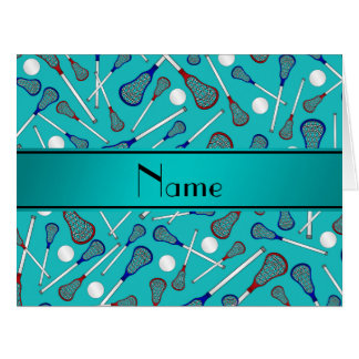Personalized name turquoise lacrosse pattern card
