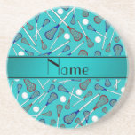Personalized name turquoise lacrosse pattern coasters
