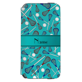 Personalized name turquoise lacrosse pattern iPhone 6/6s wallet case