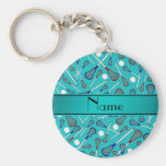 Personalized name turquoise lacrosse pattern key chains