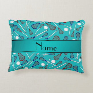 Personalized name turquoise lacrosse pattern accent pillow