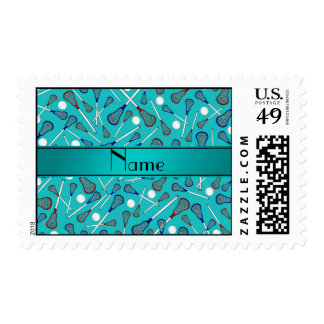 Personalized name turquoise lacrosse pattern postage