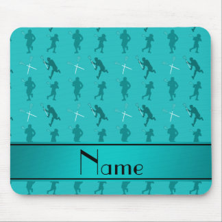 Personalized name turquoise lacrosse silhouettes mouse pad