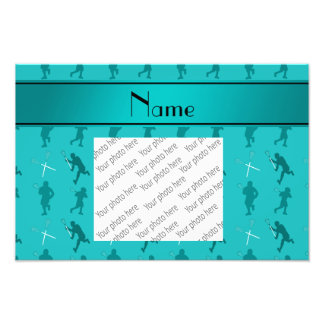 Personalized name turquoise lacrosse silhouettes photo print