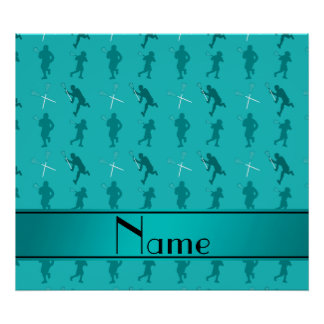 Personalized name turquoise lacrosse silhouettes poster