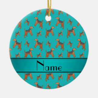 Personalized name turquoise Lakeland Terrier dogs Ceramic Ornament