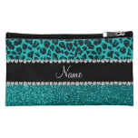 Personalized name turquoise leopard glitter makeup bags
