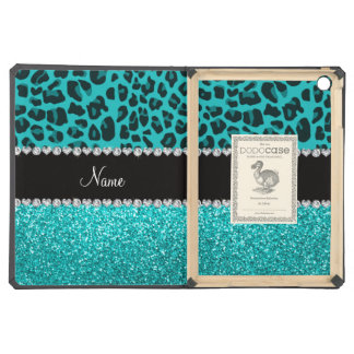 Personalized name turquoise leopard glitter iPad air covers