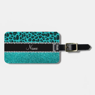 Personalized name turquoise leopard glitter luggage tag