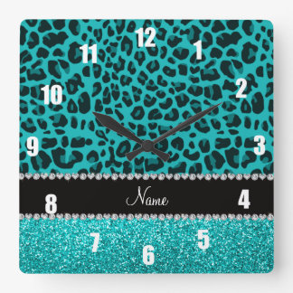 Personalized name turquoise leopard glitter square wall clock