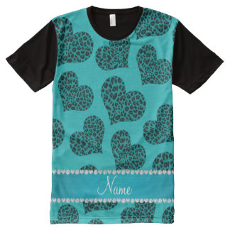 Personalized name turquoise leopard hearts All-Over print t-shirt