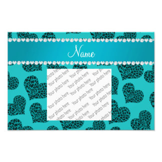 Personalized name turquoise leopard hearts photo print