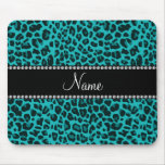 Personalized name turquoise leopard pattern mouse pad