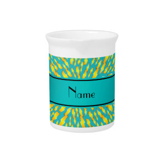 Personalized name turquoise lightning bolts beverage pitchers