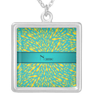 Personalized name turquoise lightning bolts pendants