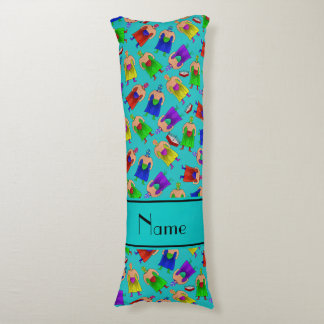 Personalized name turquoise mexican wrestling body pillow