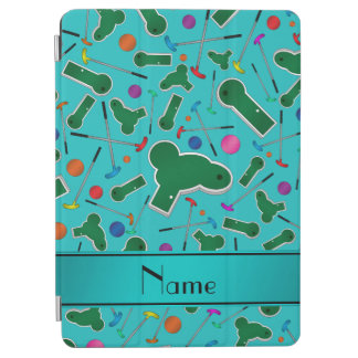 Personalized name turquoise mini golf iPad air cover