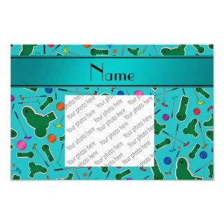 Personalized name turquoise mini golf art photo