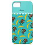 Personalized name turquoise monkey bananas iPhone SE/5/5s case