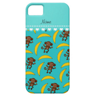 Personalized name turquoise monkey bananas iPhone SE/5/5s case