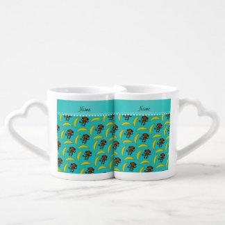 Personalized name turquoise monkey bananas couples' coffee mug set
