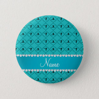 Personalized name turquoise moroccan gymnastics pinback button