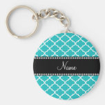 Personalized name turquoise moroccan pattern key chains