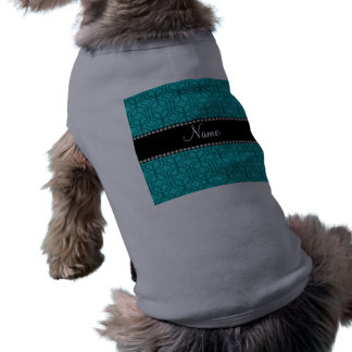 Personalized name turquoise moroccan quatrefoil pet tee shirt