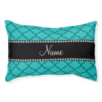 Personalized name Turquoise moroccan Small Dog Bed